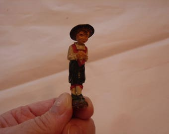 Minature antique hand carved wood  folk art figure Tyrolean German European boy character doll