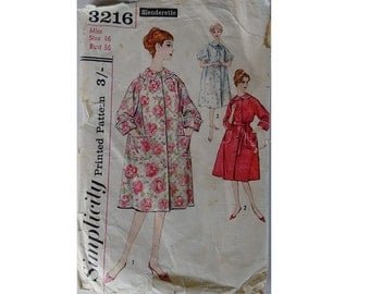 Simplicity #3216 Vintage 60s Women's Robe Housecoat Dressing Gown Bath Robe Sewing Pattern Size UK 14 Bust 36""