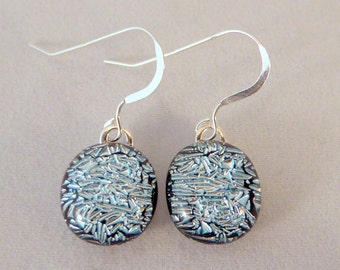 Small Silver Dichroic Fused Glass Dangle Earrings, Silver, Fused Glass, Fused Glass Earrings, Glass Earrings, Dichroic Earrings, Dichroic