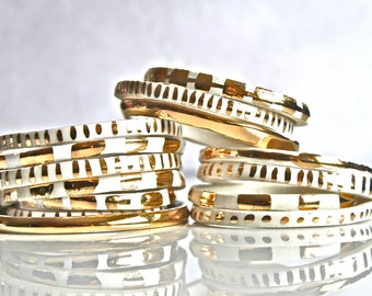 Handmade Porcelain Bracelet with 22K Gold Luster -Handmade ceramic bracelet- Porcelain Bangle- 22K Gold Pottery bracelet - Stoneware Bangles