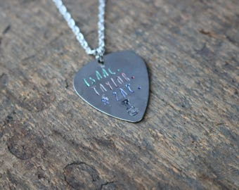 Isaac, Taylor & Zac Hanson Silver Guitar Pic Necklace - Oops!
