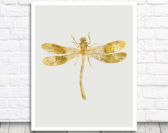Printable Dragonfly Print, Printable Wall Art, Dragonfly Poster, Golden Dragonfly Printable, Instant Download, Digital Print, Home Printable