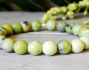 Grass Turquoise Gemstone Bracelet, Green Beaded Bracelet, Green Gemstone Bracelet, Yellow Green Bracelet, Beaded Bracelet, Earthy Bracelet