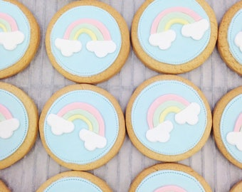 rainbow party biscuits, rainbow party bag fillers, rainbow cookies, unicorn party, childrens party biscuits, girl gang, Kawaii gift,