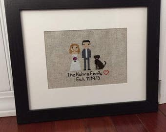Custom Cross Stitch Family Portrait - Framed