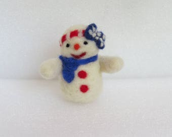 Handmade Needle Felted Snowman for 4th of July, Thanksgiving,  Spring, Valentine's Day and Christmas Decoration