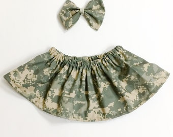 Army Baby Girl skirt. Army Gifts for baby. Army Fabric Skirt. Baby Camo Knee lenght skirt. Multi camo