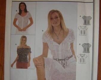 Burda 8493 Blouse with tucks at waist and raglan sleeves (7 sizes)