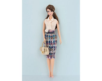 Tweed skirt for Barbie and Poppy Parker