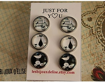 Sale - 3 Pairs of Cat Lover Post Earrings Stud Earrings sets Black Cat Paw Cat Love My Cat