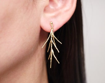 Gold Pine Twig Clip On Earrings, Invisible Clip On Earrings, Non pierced Earrings