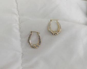 14k Yellow & White Gold Vintage  Hoop Earrings