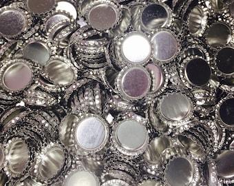 Bulk Chrome Silver Bottlecaps 1 Pound Over 200 Caps