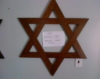 30 Inch Jewish Star Magen David / Star Of David Walnut Stain Finish Solid Oak - In Stock!