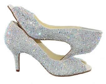 SALE!!! Swarovski Ab multi Crystal Glitter Bridal Wedding high Heel Peeptoe Ivory Satin Pump - LAST ONE!!!