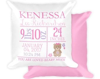 Personalized Bear Newborn Birth Stats Pillow, Birth Announcement Pillow, Bear Nursery Pillow, Girl