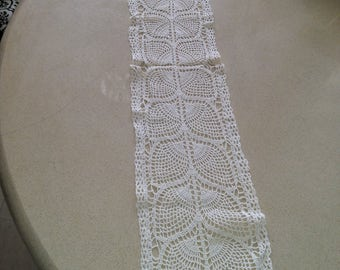 Vintage handmade table  runner, crochet.38'' x 8''