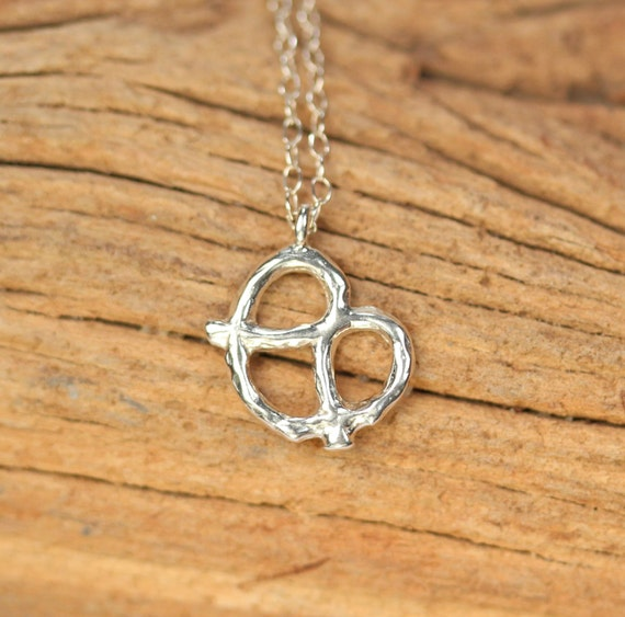 Silver pretzel necklace // cute charm necklace // bff necklace //  kawaii necklace // the perfect gift // food necklace