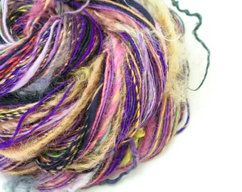 Handspun Art Yarn, Textured Yarn, Weaving Yarn, Knitting, Crochet, Art Yarn, Handspun Yarn, Tailspun, Purple Yarn, Mixed Media - ROYALE