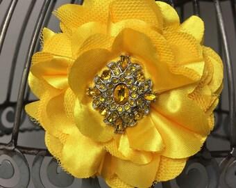 Yellow hair clip, bright yellow hair flower with yellow acrylic rhinestone, girls hair flower, women's hair flower, yellow hair accessory