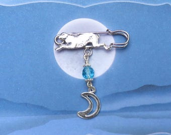 Leaping Hare and Moon Brooch Goddess Pagan Wiccan Ostara Spring Brooch
