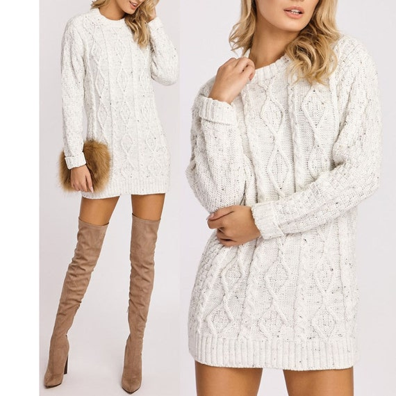 New Ladies Womens Crew Neck Cable Knit Mini Jumper Dress long