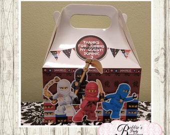 Ninjago party favor box, Ninjago gable box, 10 Ninjago party favor gable box, Ninjago favor box