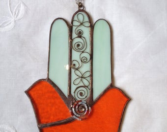 TWO DOVES HAMSA Hand,Stained Glass-Colors:Light Turqouise and Orange with beads, wall hanging