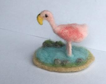 Miniature doll house - needle felted pink Flamingo