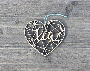 """Personalized Heart Geometric Ornament 4"""" inches wide, Custom Christmas Ornament, Babys First Christmas Ornament, Wood Ornament"""