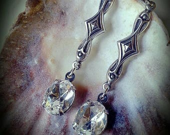 By the Light of the Silvery Moon, Vintage Art Nouveau Antique Silver and Swarovski Rhinestones Earrings