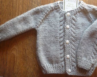Traditional Grey Hand Knitted Cabled Baby Cardigan Cardigan Sweater 3 - 6 months