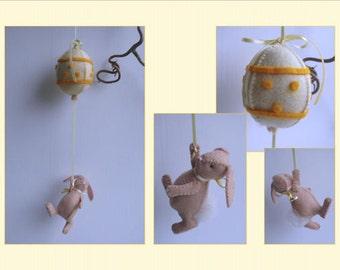 Easter Bunny and an Egg Balloon - Yellow - DIY kit