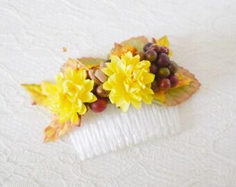Harvest Flower Comb, floral comb, autumn hair accessory, fall hair accessory, autumn wedding, bridal accessory, bridal headpiece - HARVEST