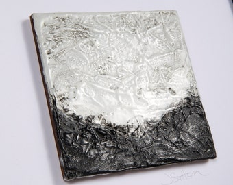 Original Mini Black and White Encaustic Abstract Landscape Painting
