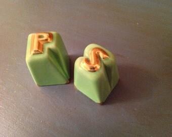 Green ceramic Salt & Pepper Shakers
