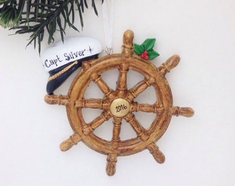 FREE SHIPPING Boat Captain Personalized Christmas Ornament / Boat Ornament / Boating / Yachting / Personalized Ornament