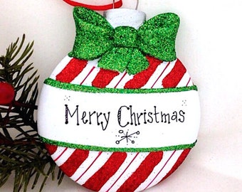 FREE SHIPPING Candy Cane Stripe Christmas Ball Personalized Christmas Ornament / First Christmas / Child's Ornament / Personalized Gift