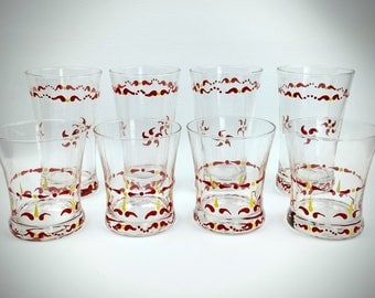 Hand painted drinking glasses, set of 8, red drinking glasses, red and yellow glasses, water glasses, drinking glasses, kitchen glasses