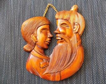 Vintage Laughing Buck Tooth Man & Woman Carved Wood Wall Hanging - Asian Beard China Man