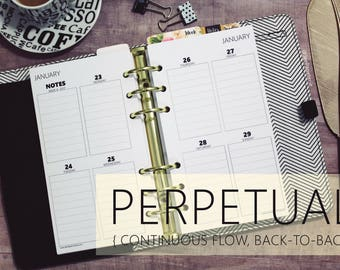 Printed WEEKLY PERPETUAL Vertical Quad *Ruled/Lined* Boxes Planner Inserts, (Personal, Personal-Wide, Franklin Covey Compact)