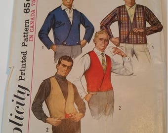 Vintage 1965 Simplicity Sewing Pattern 6256 Men's jacket and reversible vest in Size 40 (waist 36)