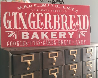 1'x2' gingerbread bakery vintage inspired wood sign farmhouse decor