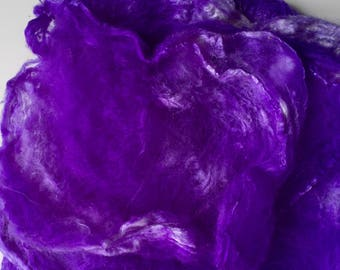 Hand dyed silk hankies (mawata) handpainted silk layers stretched from cocoons 1 oz.