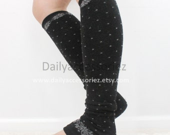 polka dot womens leg warmers, snowflake, Christmas, knit leg warmers, adult, boot socks women, for girl, for women, Christmas Gifts, for her