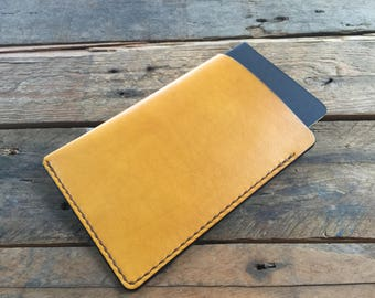 LEATHER FIELD NOTES Cover - Hand Dyed Sunshine Yellow - Veg Tan Leather - Choice of Thread Colour - Hand Stitched