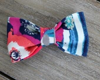 Cotton Knit tuxedo bow, floral print tuxedo headband, striped bow headband, navy white and coral tuxedo bow headband, baby nylon headband