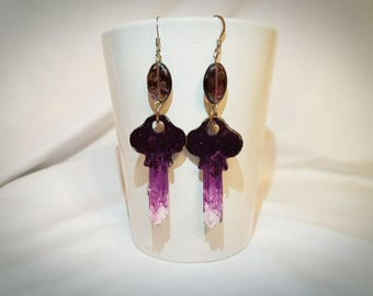 Purple fade re-purposed key earrings