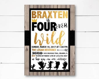Four Ever Wild Birthday Invitation, Where the Wild Things Are Invitation, Forever Wild Invite, Wild Things Birthday Invitation, DIY or Print