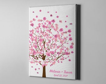 SALE 50% Off Canvas Guest Book Alternative, Signature Cherry Blossom Tree Guest Book, Spring Tree Guest Book, Bridal Shower Gift Idea- CGB57